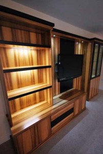 Walnut media cabinet with LED downlights - custom made