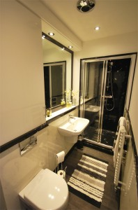 Black and white bathroom in marble style