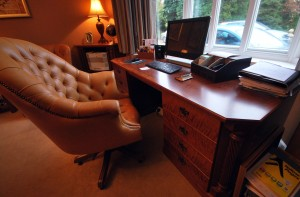 Desk and office in stained cherry