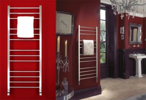 Towel radiator from Bisque - with white towel.
