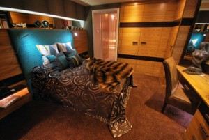 Red Elm and Ebony Maccassa fitted bedroom. Faux fur throw and sumptuos velvet add warmth and richness