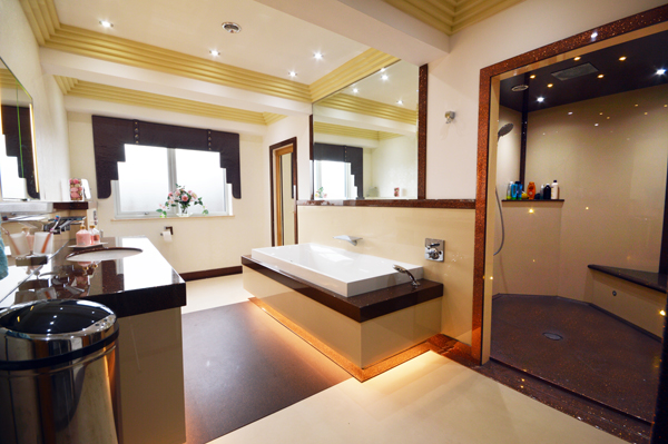 Disabled Bathroom design with low bath, accessible shower and integrated solutions