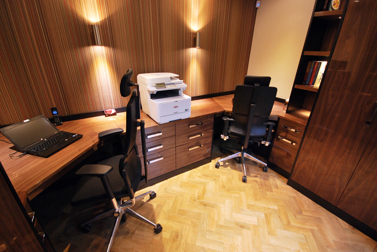 Bespoke double desk home office with wall lighting in real zebrano wood