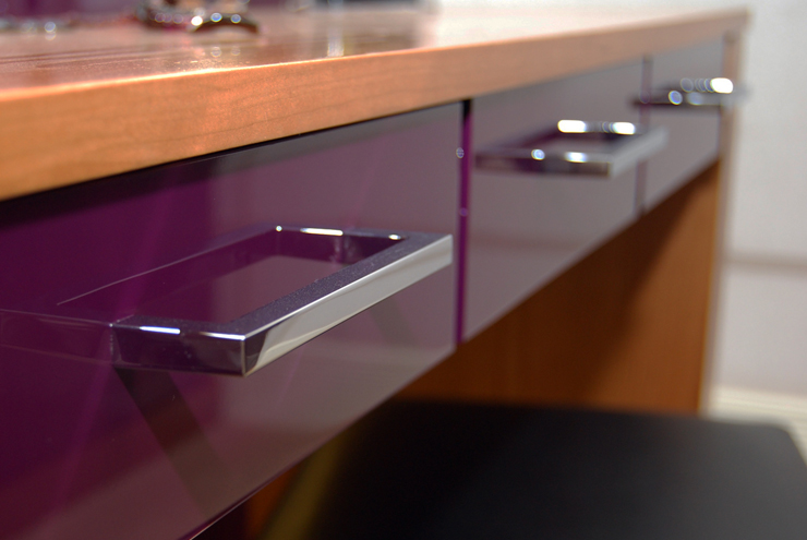 High gloss finishes available for dressing room furniture