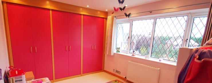 Pink kids bedroom wardrobes furniture painted