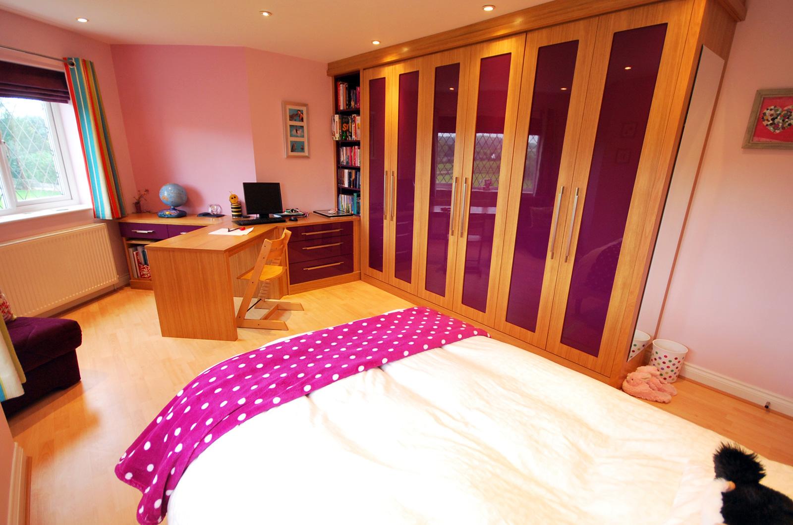 Bespoke kids bedroom furniture in purple high gloss and cherry wood