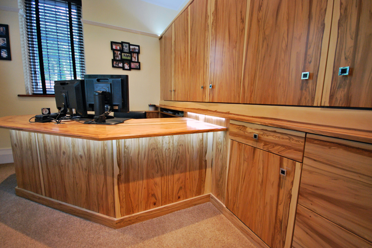 Custom home office furniture hand made using real oak wood veneers