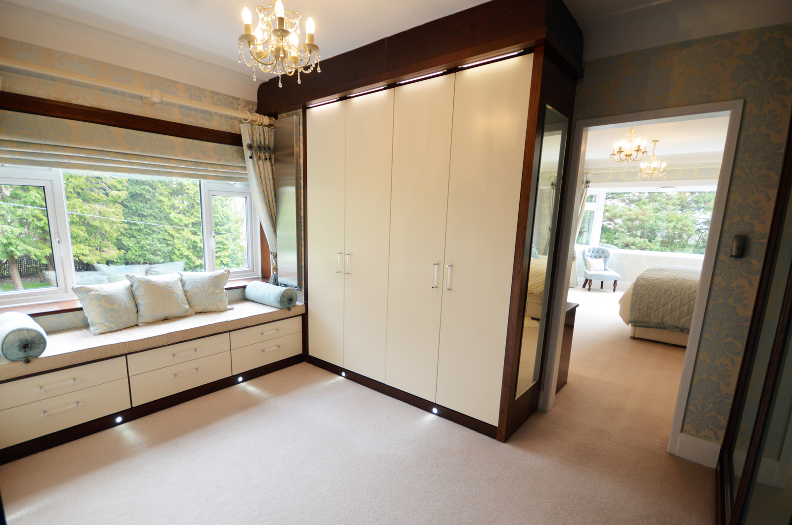 Dressing room - Bespoke walk in wardrobe fitted wardrobes in real wood veneers