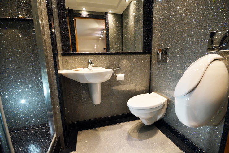 Cloakroom with granite finish and contrasting white villerroy and boch equipment