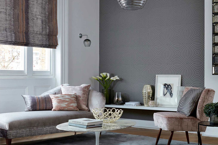 Statement wallpaper - grey wallpaper with silver beads in circular design from Harlequin
