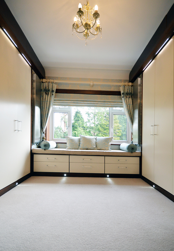 Dressing room with black walnut and cream