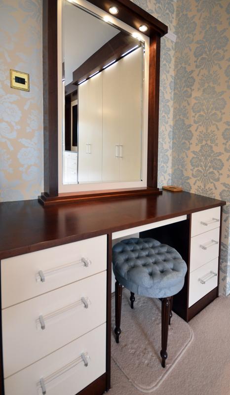 Custom dressing table in black walnut and cream