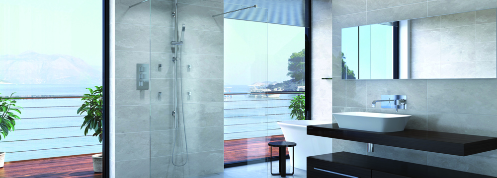 Aqata shower screen in a modern bathroom