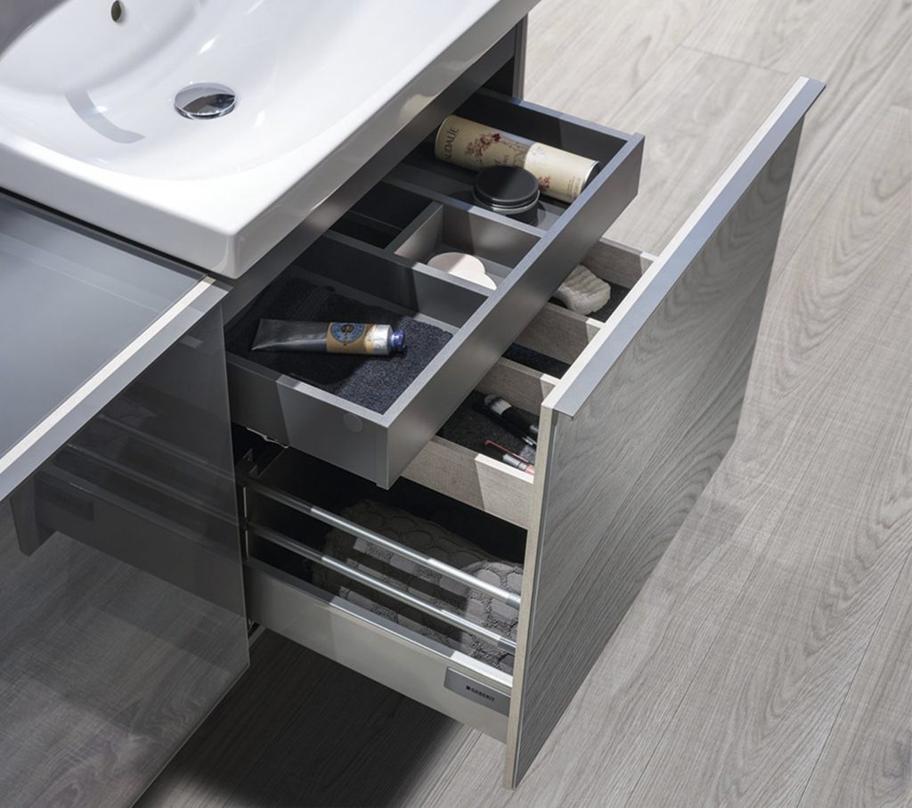 Geberit bathroom undersink cabinet with storage solutions