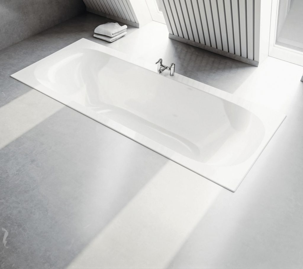 Geberit bathtub sank into bathroom floor