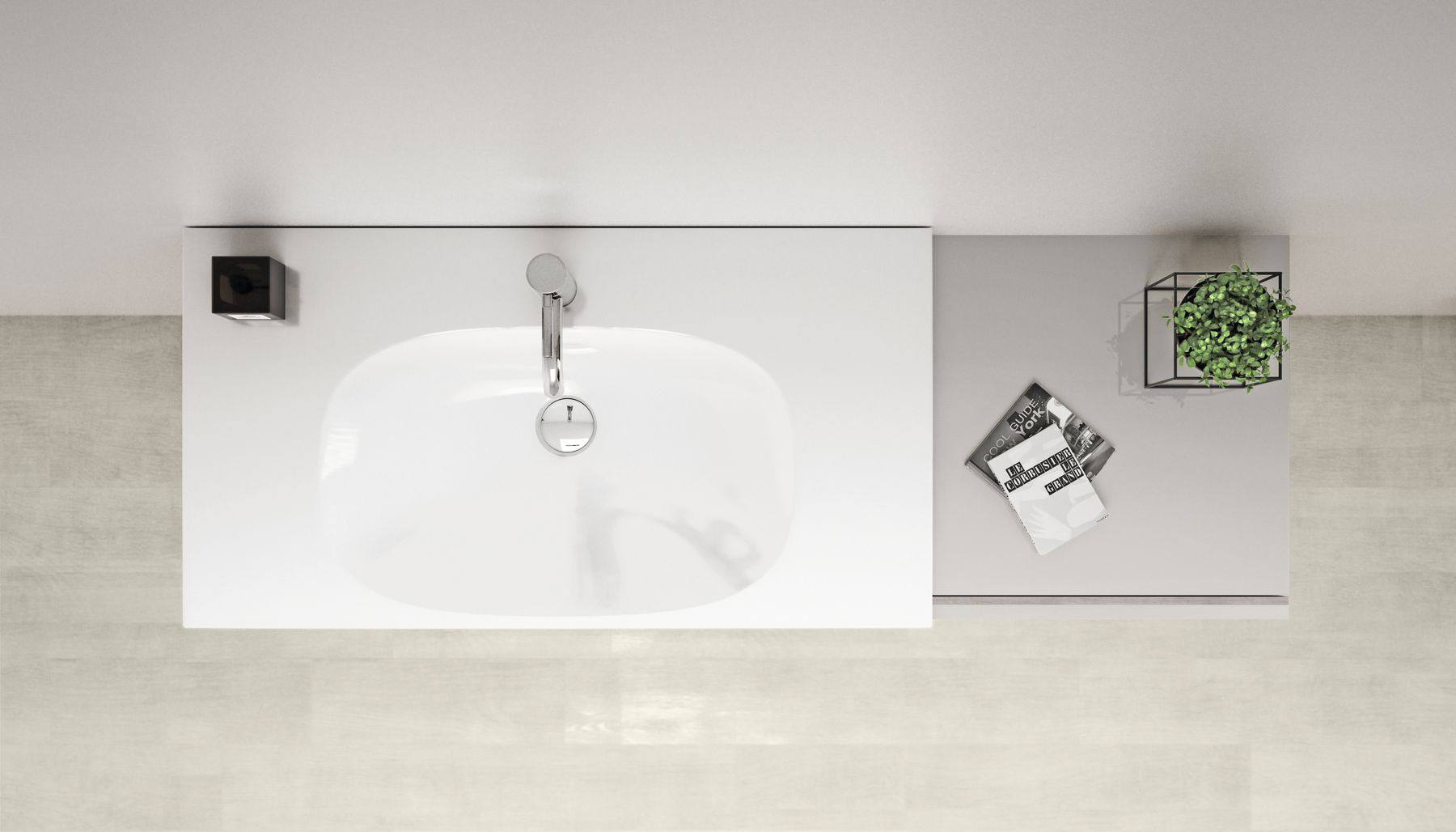 Geberit rectangular, modern sink in white - look from above