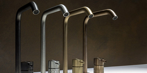 Selection of Gessi taps with brushed finish