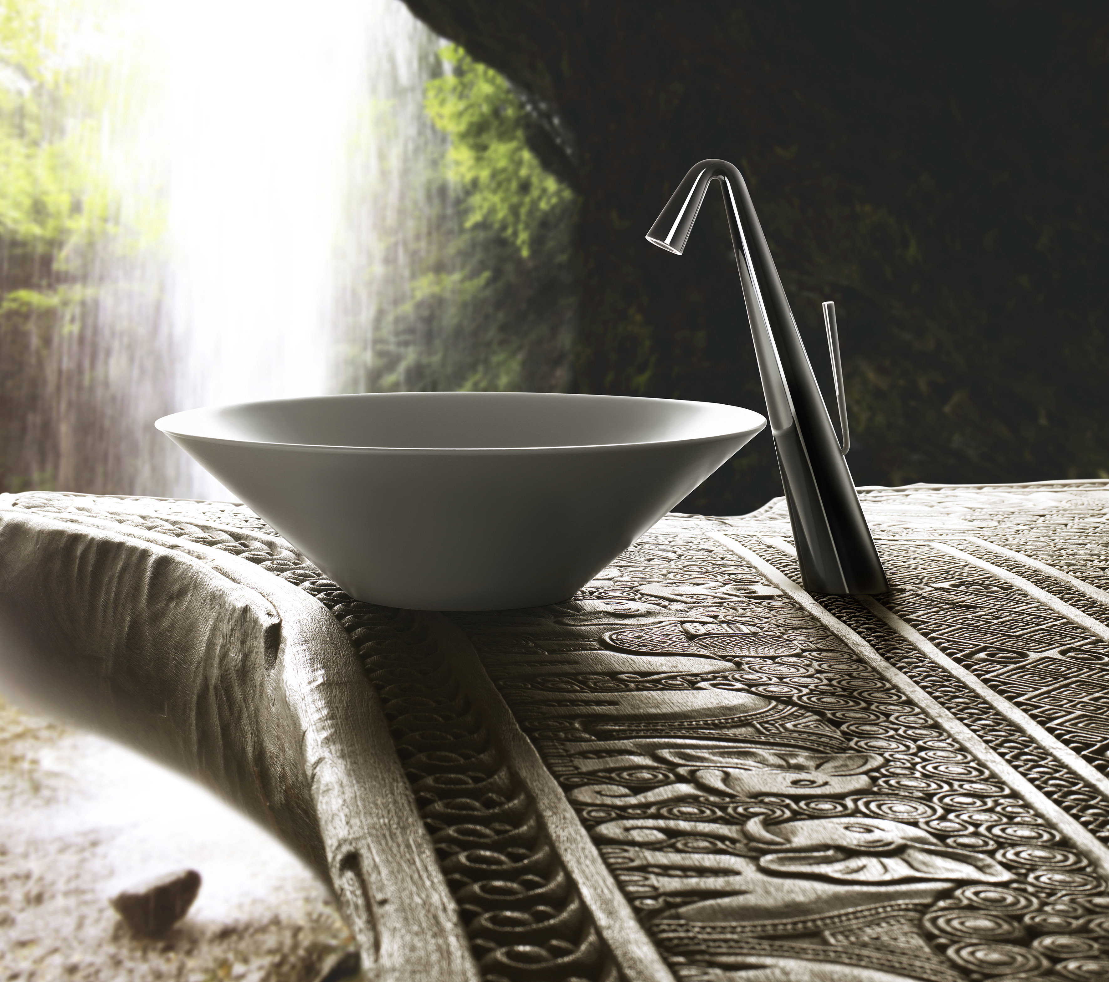 gessi cono sink and tap presenting the straight lines and simplicity of the collection