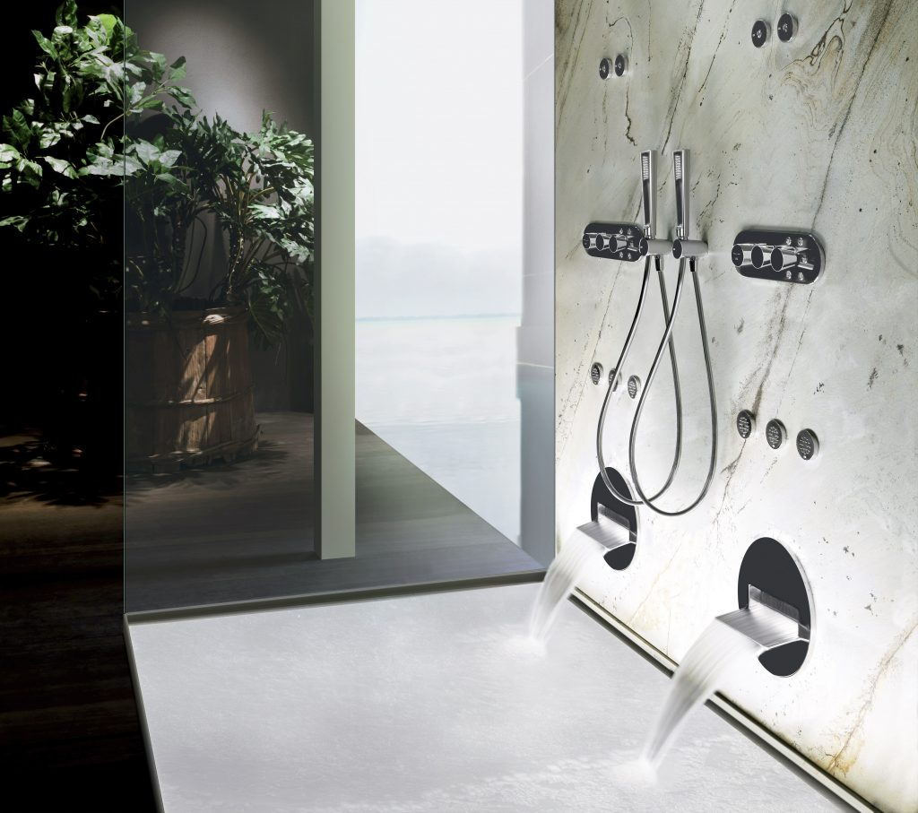 gessi showerheads in shower enclosure wish mirror finish