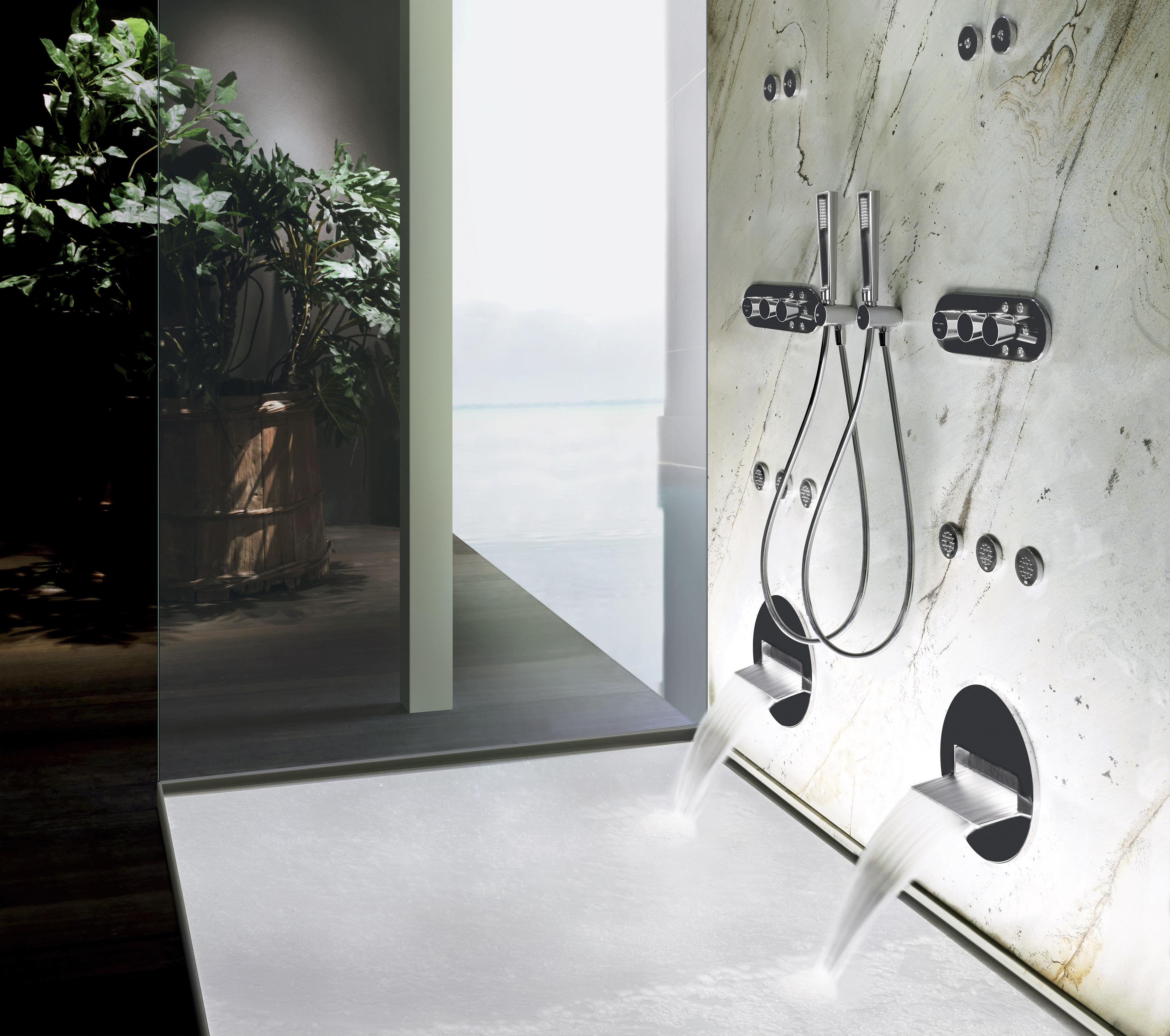 gessi showerheads in shower enclosure wish mirror finish