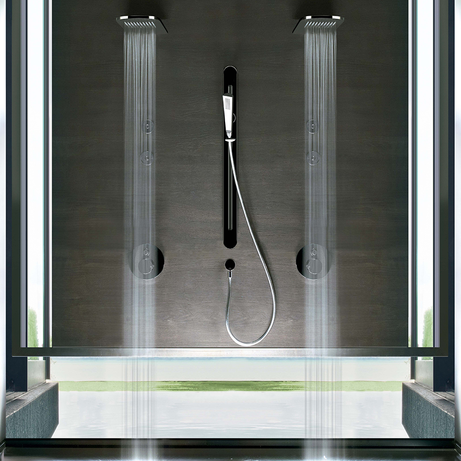 Gessi rain showerheads in a modern setting