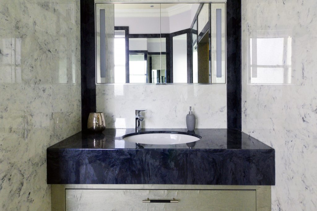 Bathroom Ideas - Dark grey vanity top from versital with an undermounted sink and a sycamore under sink cabinet