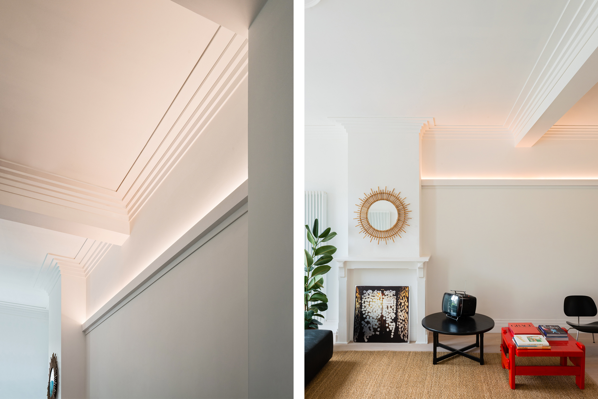 Ceiling coving with a concealed indirect lighting
