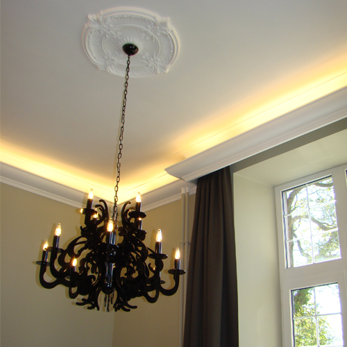 Small ceiling rose decorative panel and light up coving