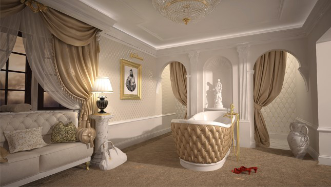 Decorative bathroom coving with matching skirting and complimentary columns