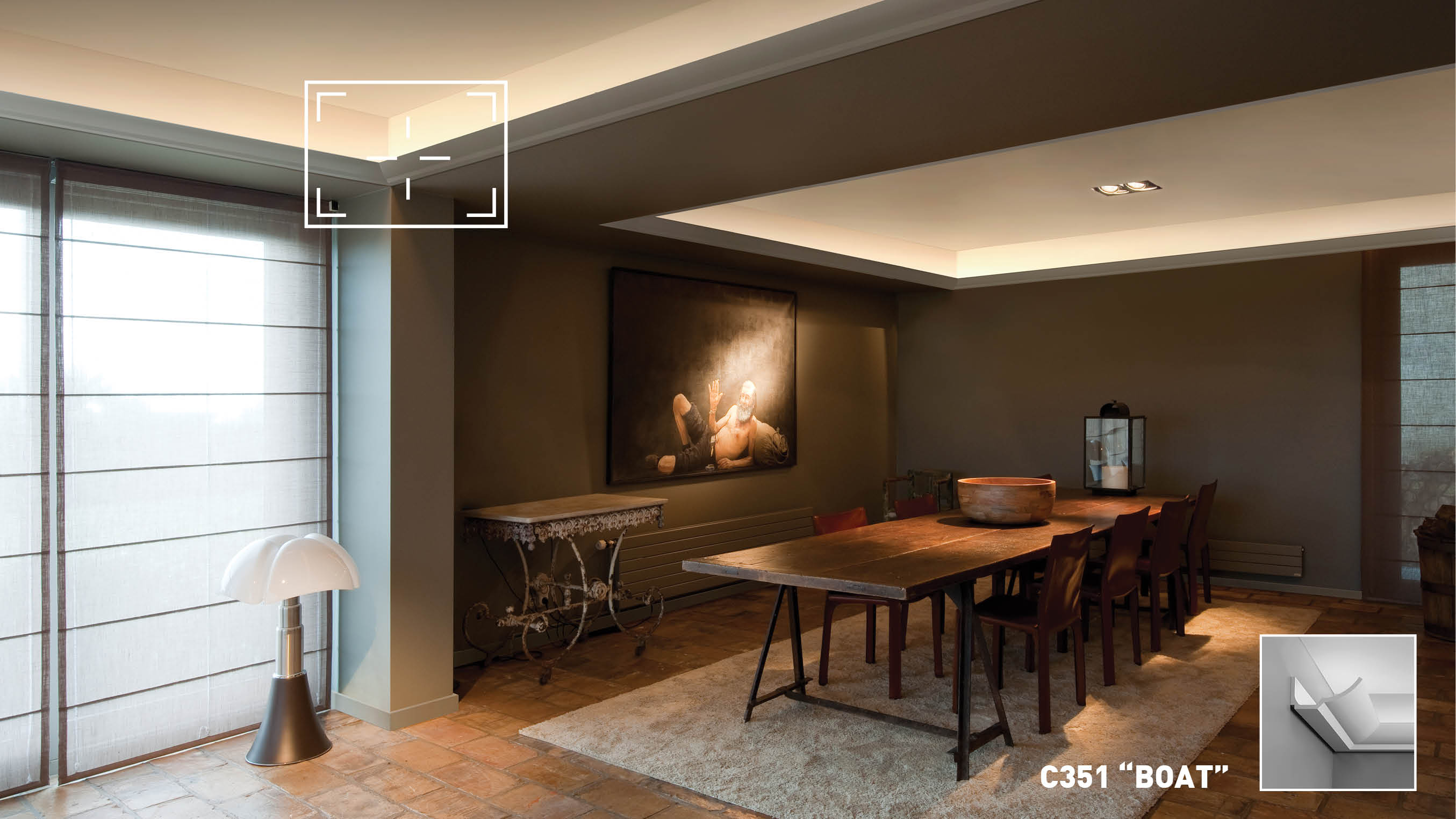 Indirect lighting from concealed ceiling led panels