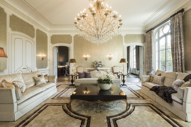 Elaborate ceiling cornice with matching wall panels and columns