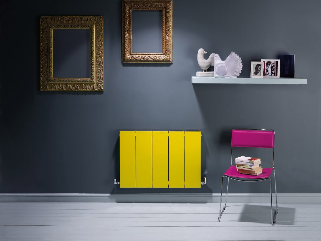 BLOK - TRAFFIC YELLOW small horizontal designer radiator