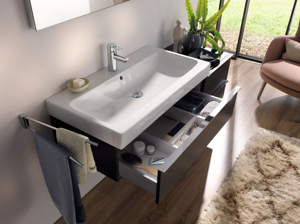 Drawer under sink bathroom unit with storage solutions