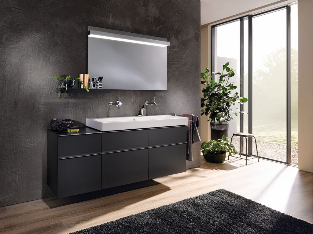 geberit under sink bathroom cabinets in dark wood