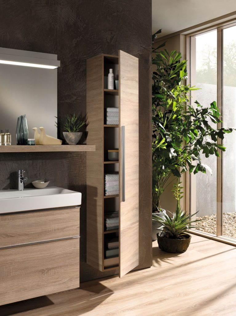 tall bathroom cabinet from geberit ideal for towel storage