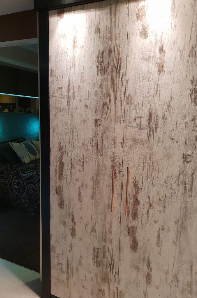 driftwood wardrobe door near a bedroom