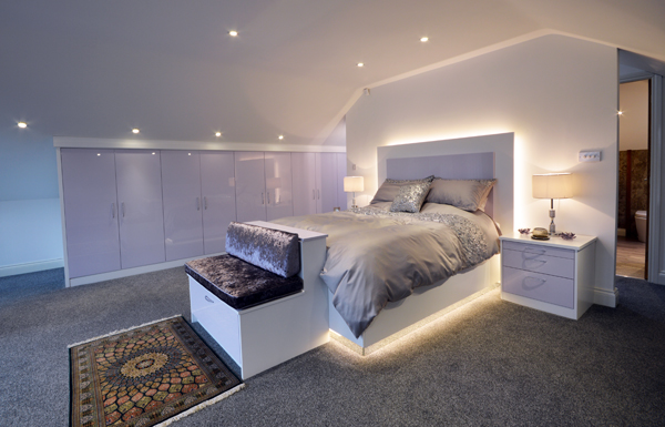 Simple white and lilac bedroom
