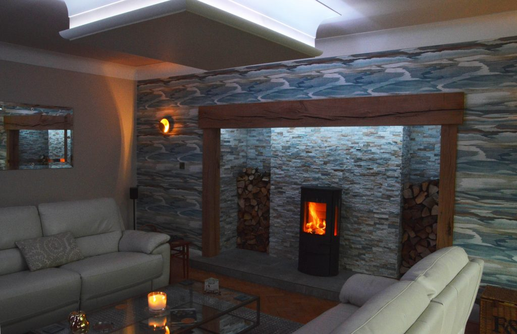 Log burner and Ceilning Coving creating a lovely mood in a living room