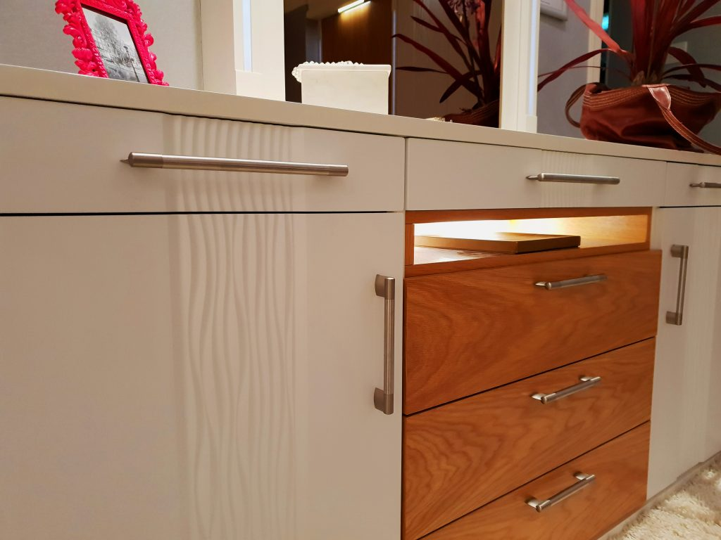 white wave and oak dresser with metal handles
