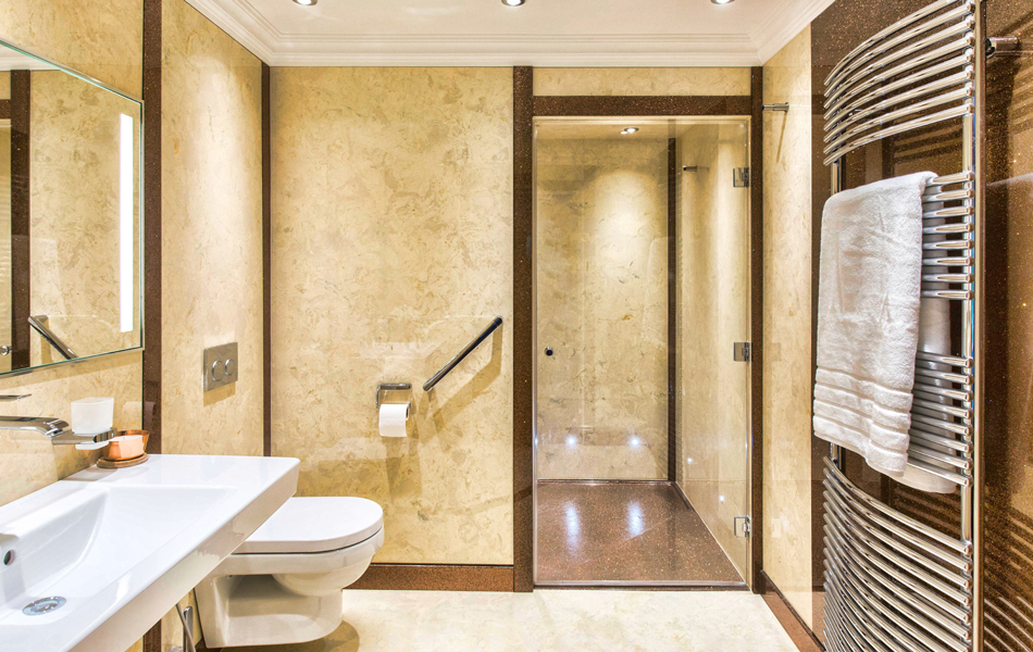 Cream bathroom design featuring wall panels from versital in bone and contrasting sparkle decorative panels in coco loco