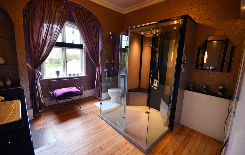 Stunning feature shower in centre of room using bespoke shower tray and shower panels in sparkle reflect finish 'Hi Ho' and 'Noire Reflect'