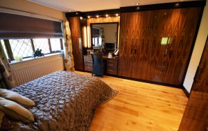 Langley Interiors Bespoke Fitted Bedroom Furniture In Black Walnut High Gloss Dressing Table And Wardrobes Langley Interiors