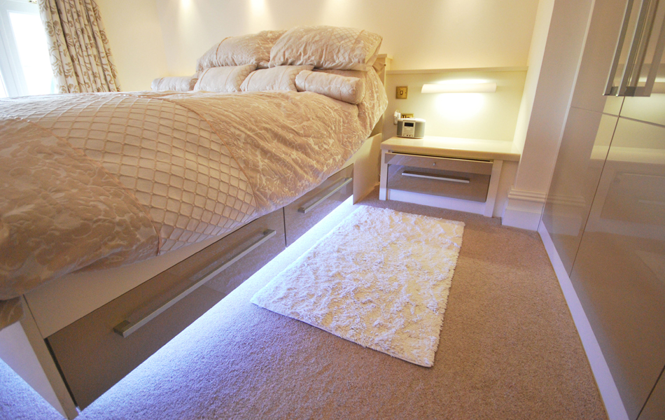 Langley Interiors Modern Bedroom Design In High Gloss Cream With Satin White Frames And Light Up Bed Langley Interiors