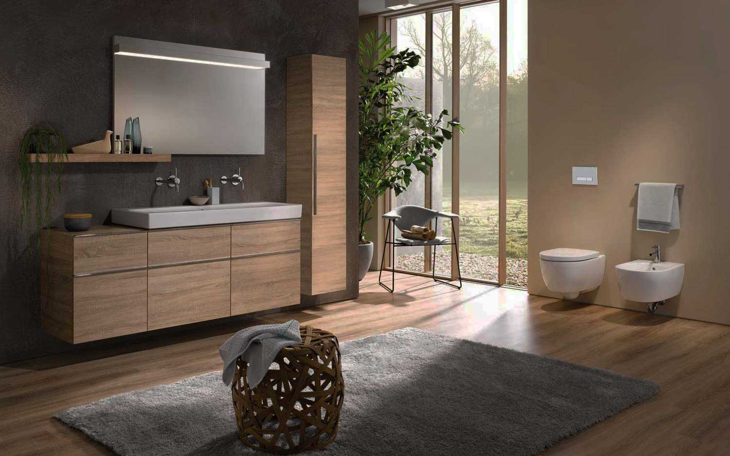 fitted bathrooms represented in gray in a bright room