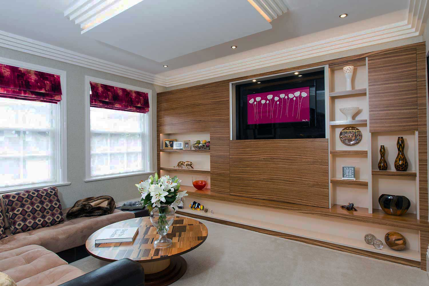 designer home cinema with a wall unit