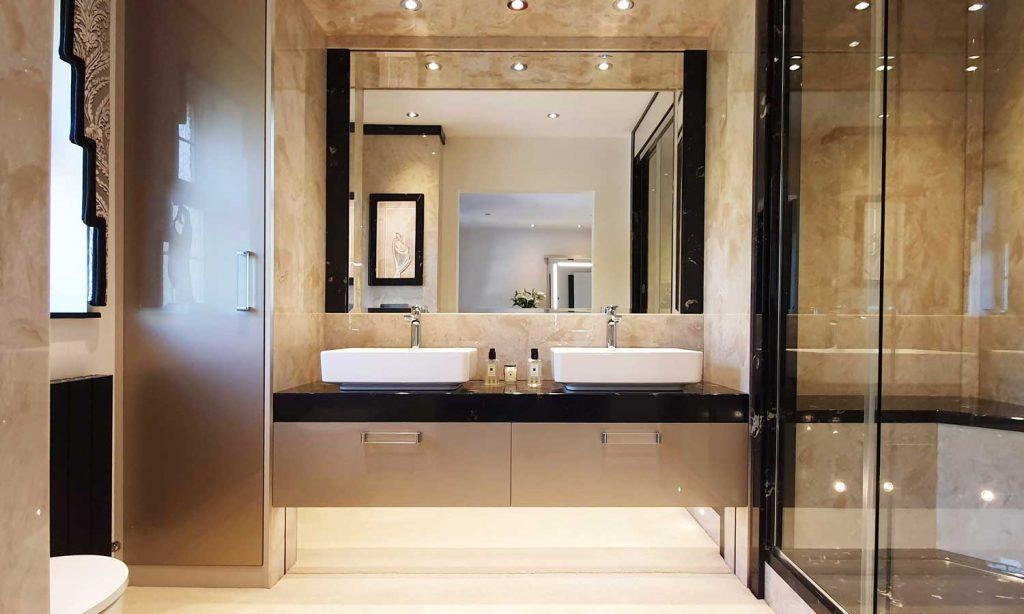Large luxury bathroom with twin sinks