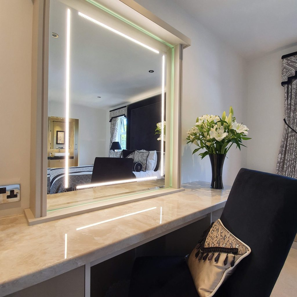 Large dressing table with bespoke mirror